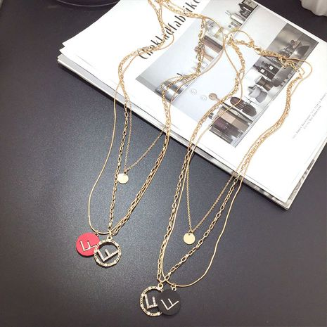 Fashion multi-layer  letter wild stacking alloy neck chain for women NHFT243166's discount tags