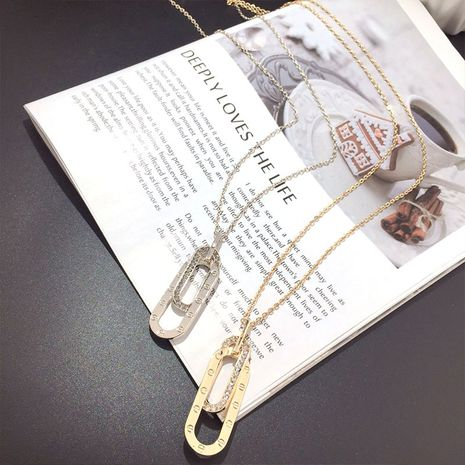 Korean new fashion crystal paper clip wild exquisite clavicle chain NHFT243167's discount tags