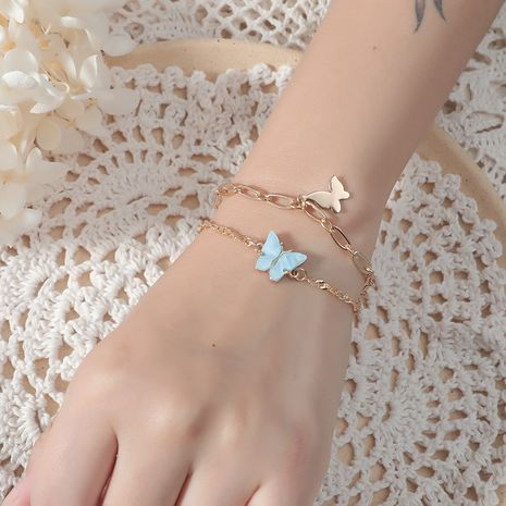 double-layer Korea fashion simple retro thick chain two butterfly alloy bracelets NHKQ243169's discount tags