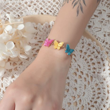 Fashion simple retro three color butterfly Korean wild alloy bracelet NHKQ243170's discount tags