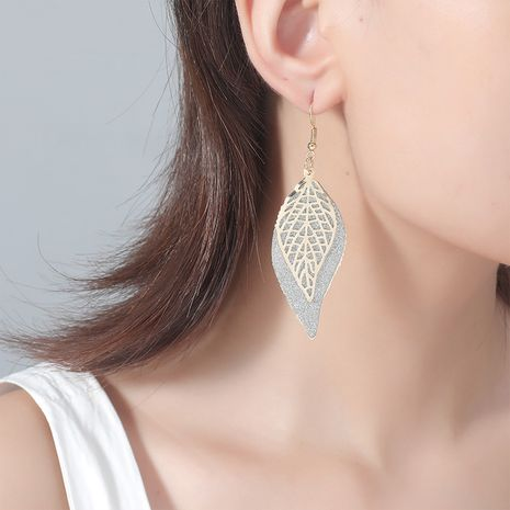 fashion exaggerated texture simple retro hollow frosted gold leaf double alloy earrings NHKQ243173's discount tags
