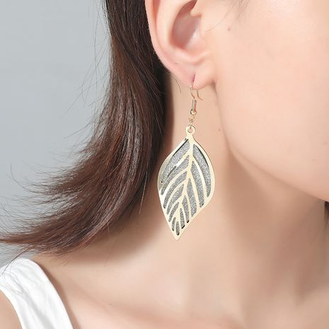 Retro hollow frosted gold leaf double fashion exaggerated alloy earrings NHKQ243174's discount tags