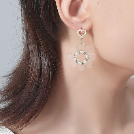 Korea Fashion New Fairy Simple Hollow Pearl Love Flower Earrings NHKQ243175's discount tags