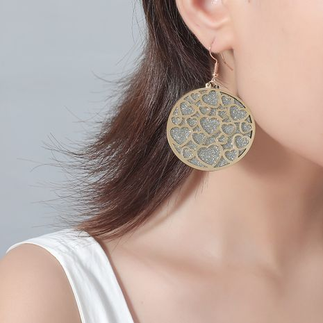 hot sale fashion new multi-layer sequin simple retro hollow heart round iron alloy earrings NHKQ243181's discount tags