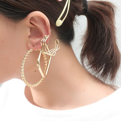 fashion exaggerated metal alloy simple trend geometric shape 3-piece set of earrings NHKQ243183's discount tags