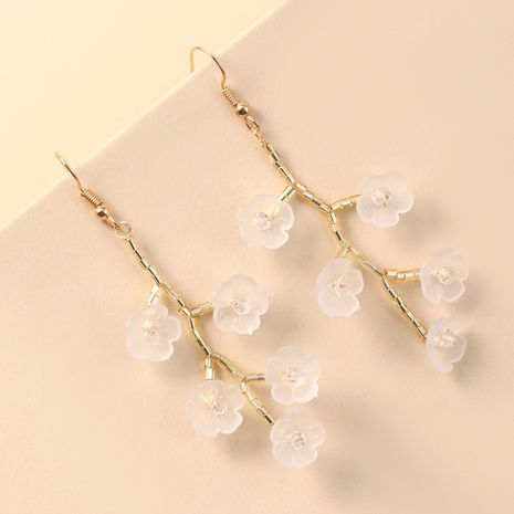 Fashion handmade imitation shell resin flower hot selling new woven crystal long earrings  NHKQ243186's discount tags