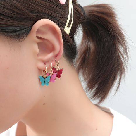 fashion new simple retro trend set color butterfly 3-piece earrings NHKQ243190's discount tags