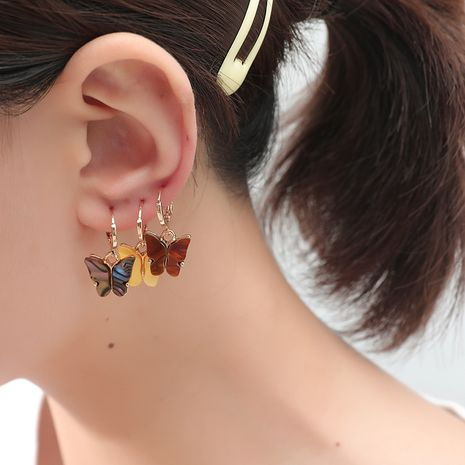 Fashion all-match combination Korea new trend color shell butterfly 3-piece alloy earrings set  NHKQ243191's discount tags