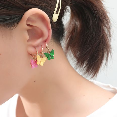 fashion color acrylic butterfly compact 3 piece earrings sets NHKQ243192's discount tags