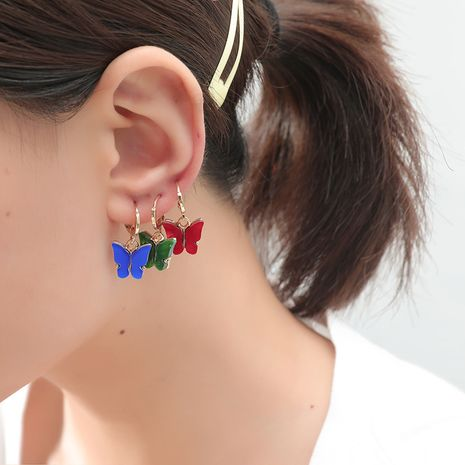 Korean fashion retro color butterfly simple retro trend shell 3-piece alloy earrings NHKQ243194's discount tags