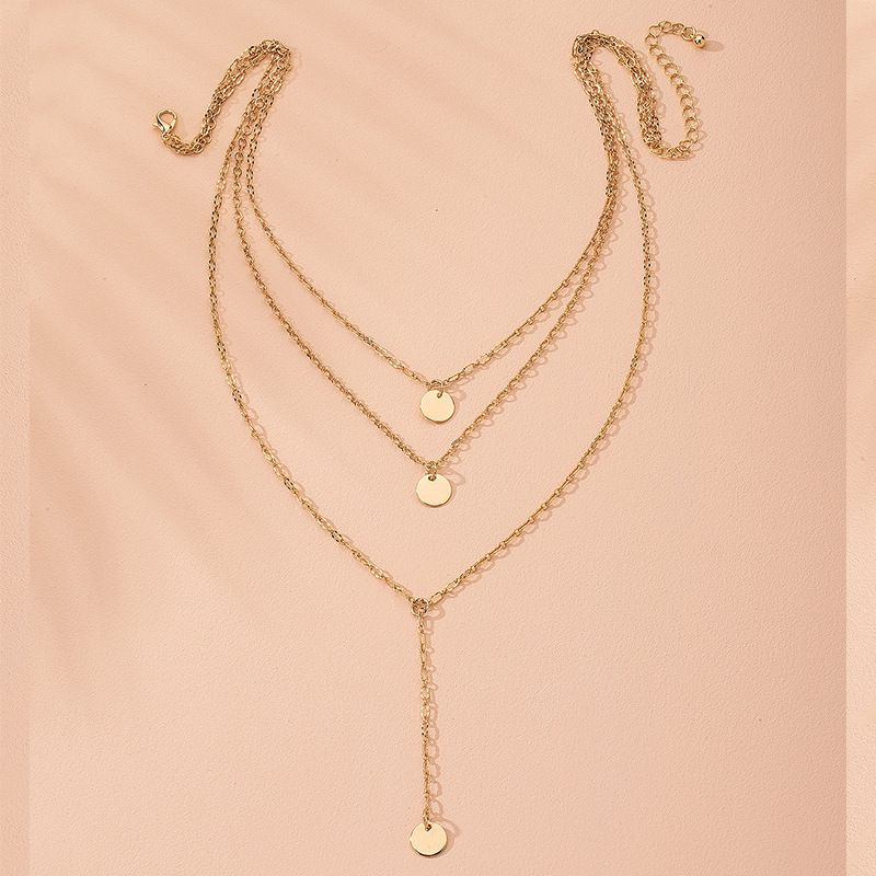 Fashion gold pendant multilayer disc long chain alloy pendant necklace for women NHAI243204