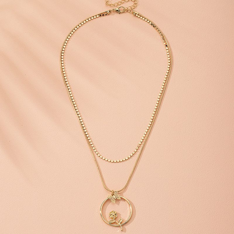 hot-selling simple natural flower trendy alloy necklace for women wholesale NHAI243208