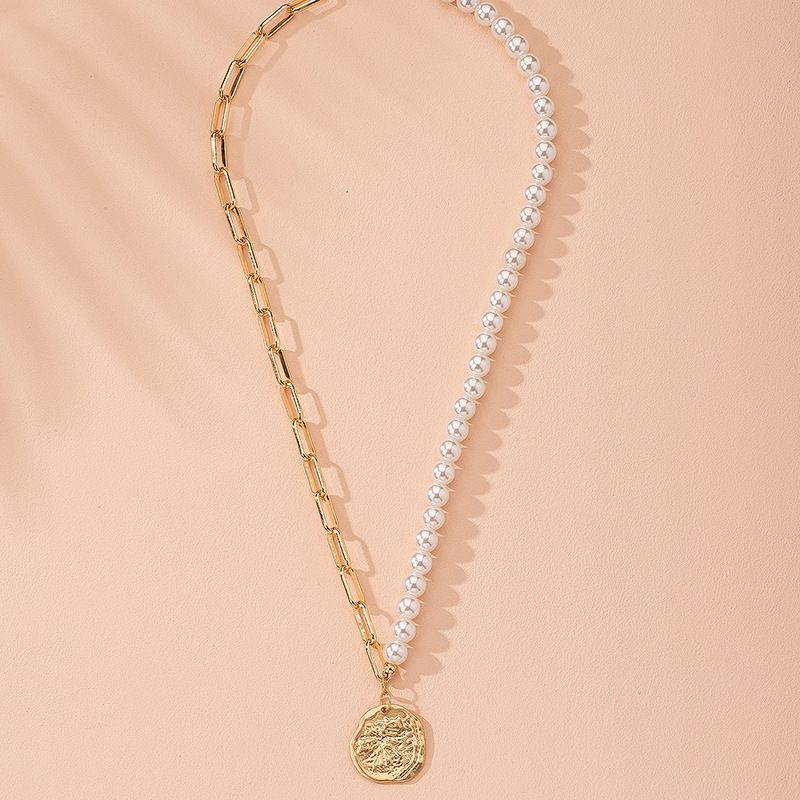 new fashion  round pearl stitching  alloy clavicle chain  wholesale  NHAI243209