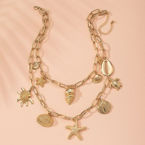 new pendant multi-layer star ocean shell women's bohemian alloy necklace wholesale NHAI243212's discount tags