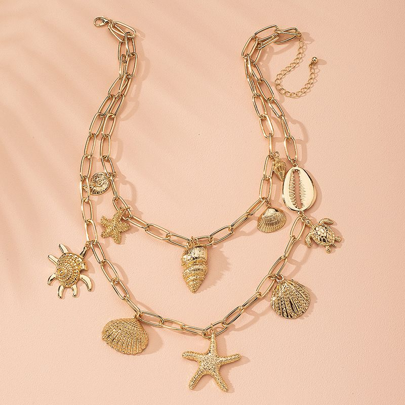 new pendant multi-layer star ocean shell women's bohemian alloy necklace wholesale NHAI243212