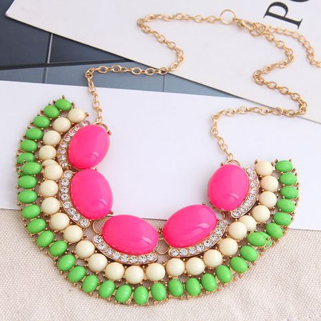 fashion all-match metal accessories Bohemian style simple contrast color exaggerated necklace NHSC243300's discount tags
