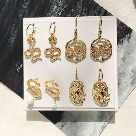 new cobra trend retro long snake earrings wholesale nihaojewelry NHAI243215's discount tags