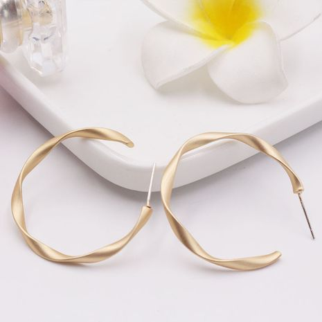 Korea S925 silver needle c-shaped retro geometric twisted matte earrings wholesale nihaojewelry NHAI243217's discount tags