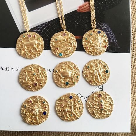 Fashion baroque coin new retro constellation gold-plated sweater chain NHAI243218's discount tags