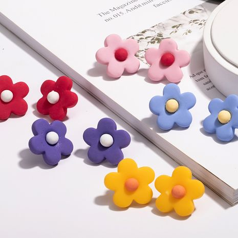 Korea's simple and cute girl candy color matching flower earrings NHAI243223's discount tags