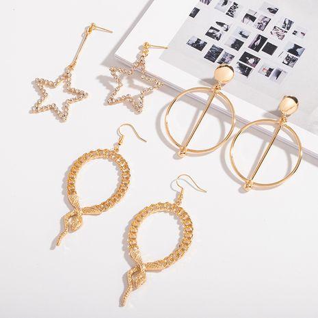 Korea snake-shaped niche geometric hollow exaggerated earrings NHAI243227's discount tags