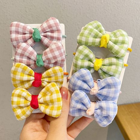 Fashion cloth plaid bow knot head rope headdress children rubber band princess hair ring  NHNA243228's discount tags