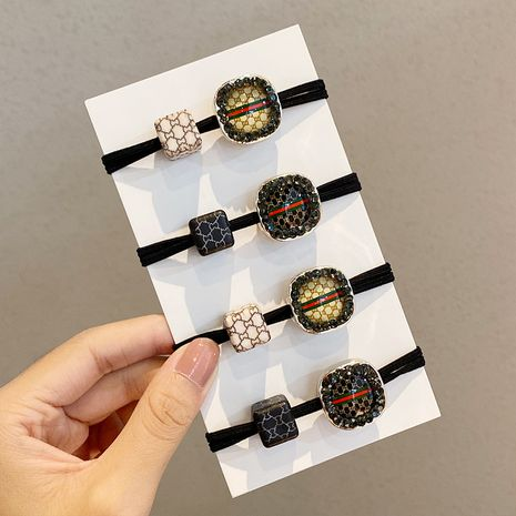 Fashion rubber band square girl wild inlaid brick hair rope high elastic hair ring  NHNA243237's discount tags