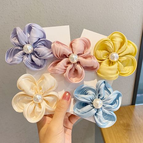 Korean chiffon fabric flower  duckbill clip wholesale NHNA243239's discount tags