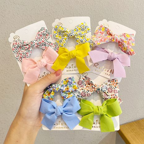 bow cute floral bangs clip set wholesale nihaojewerly NHNA243242's discount tags