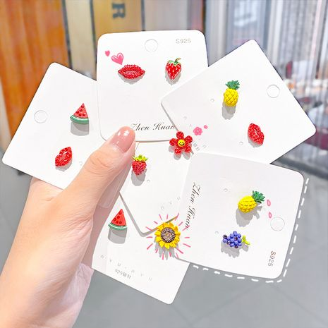Sweet girl simple Korea fruit simple earrings for women small jewelry  NHNA243246's discount tags