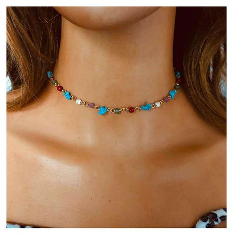 Simple fashion all-match colorful gravel retro casual all-match item necklace for women NHCT243250's discount tags
