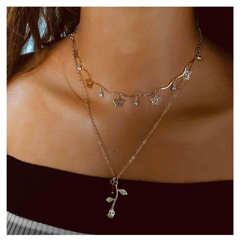 fashion jewelry simple thin chain butterfly tassel geometric necklace for women NHCT243253