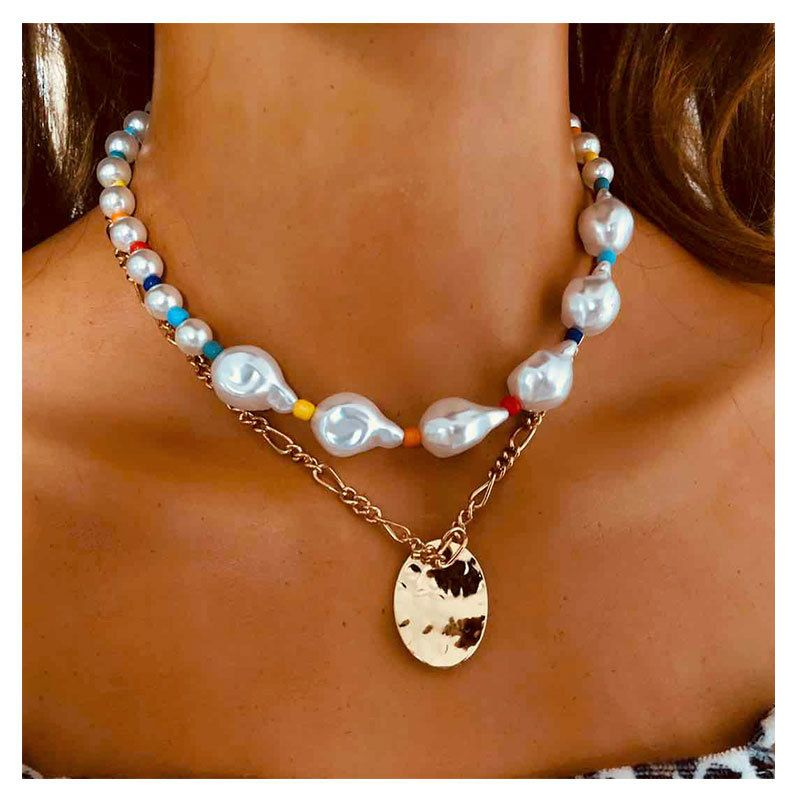 fashion special-shaped pearl simple metal pendant necklace for women NHCT243263