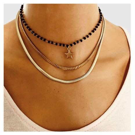 Fashion wild multi-layer metal chain five-pointed star pendant necklace for women NHCT243266's discount tags