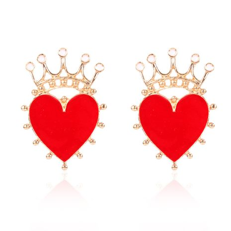 alloy oil drop red heart-shaped crown fashion earrings wholesale nihaojewerly NHCT243268's discount tags