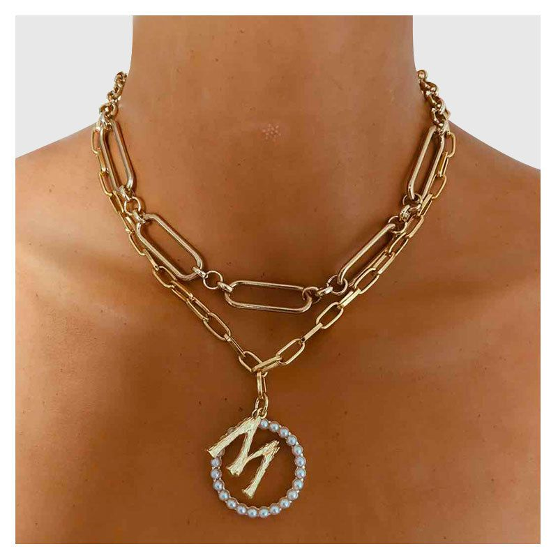 fashion all-match alloy multilayer simple letter M pendant clavicle chain necklace for women NHCT243269