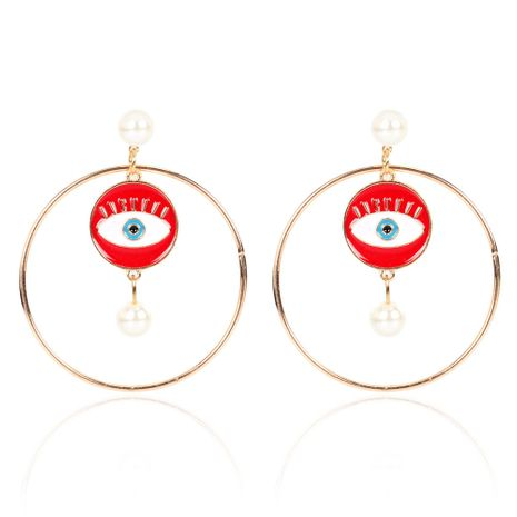 pearl alloy geometric devil eye earrings exaggerated earrings wholesale nihaojewerly NHCT243274's discount tags
