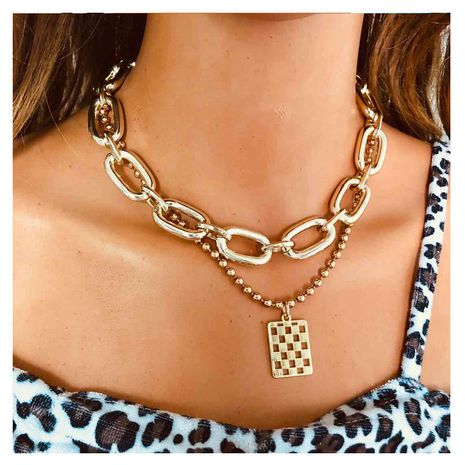 fashion wild item simple metal square women's pendant clavicle chain necklace  NHCT243275's discount tags
