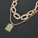 fashion wild item simple metal square womens pendant clavicle chain necklace  NHCT243275