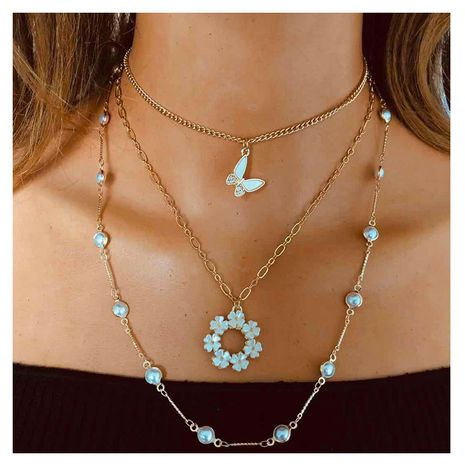 fashion metal alloy butterfly pendant multi-layer alloy necklace for women NHCT243276's discount tags