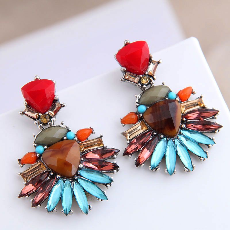 fashion metal concise colored gemstone exaggerated alloy earrings NHSC243297