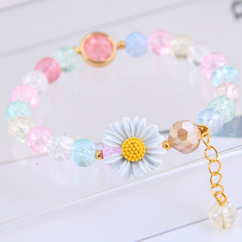 Korean fashion sweet OL daisy chrysanthemum sweet pop flower beads women's bracelet NHSC243296