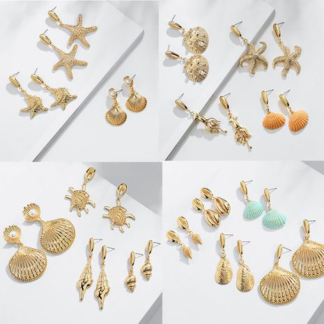 fashion natural conch shell-shaped retro bohemian shell alloy earrings NHAI242953's discount tags