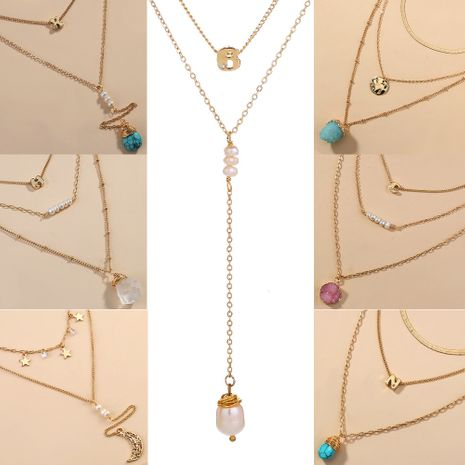 new fashion elegant natural pearl multi-layer women's long pendant necklace  NHAN243132's discount tags