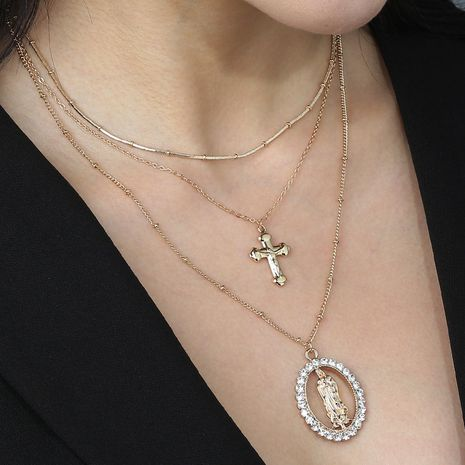 hot sale retro exaggerated Roman portrait cross pendant multi-layer fashion alloy necklace  NHAN243125's discount tags