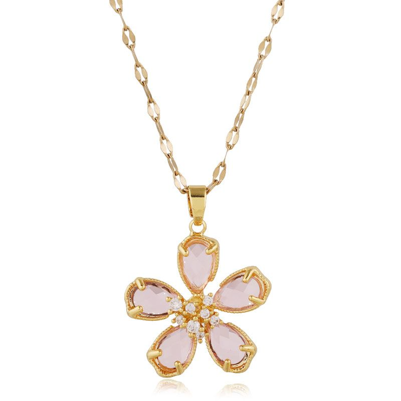 Korean fashion sweet crystal flower alloy womens necklace wholesale NHSC243280
