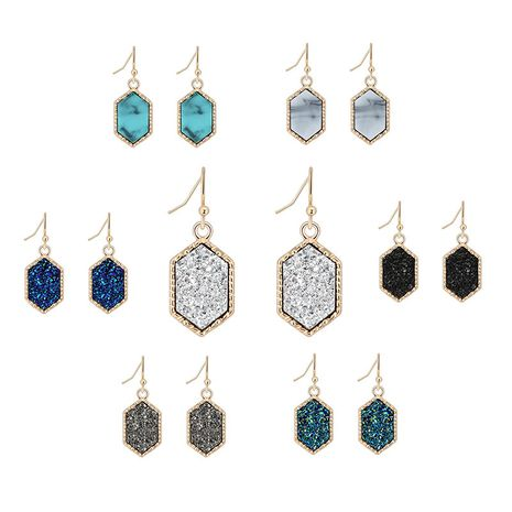 hot-selling crystal cluster turquoise earrings imitation natural stone earrings wholesale nihaojewelry NHAN243311's discount tags