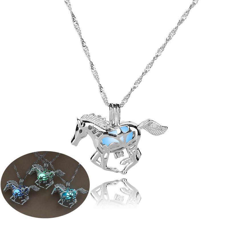 hot luminous beads fashion hollow horse alloy pendant Halloween necklace  NHAN243318