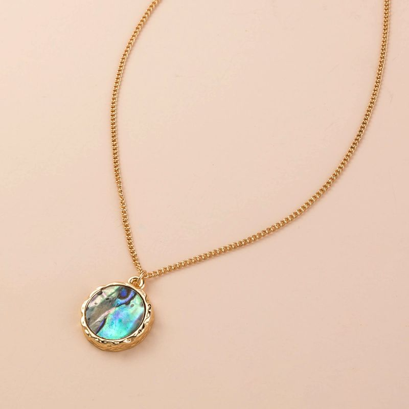 hot selling natural color abalone shell round alloy wild new clavicle chain necklace  NHAN243320