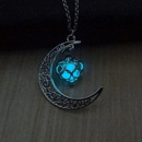 hot selling hollow moon heartshaped luminous Christmas alloy clavicle chain NHAN243325